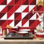 Adesivo de azulejo vermelho geometrico