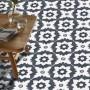 Adesivo para piso ladrilho geometrico cinza e branco lavável