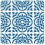 Adesivo piso azul e branco