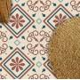 Adesivo piso ladrilho arabesco lavável antiderrapante