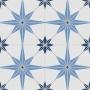 Adesivo  piso ladrilho estrelado azul lavável antiderrapante
