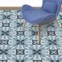 Adesivo  piso ladrilho granilito azul lavável antiderrapante