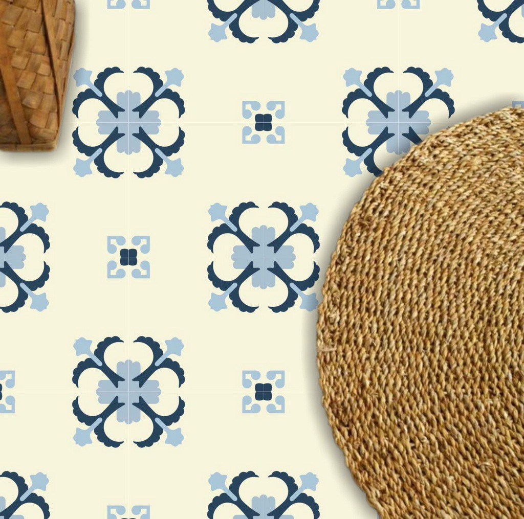 Adesivo  piso ladrilho floral lavável antiderrapante