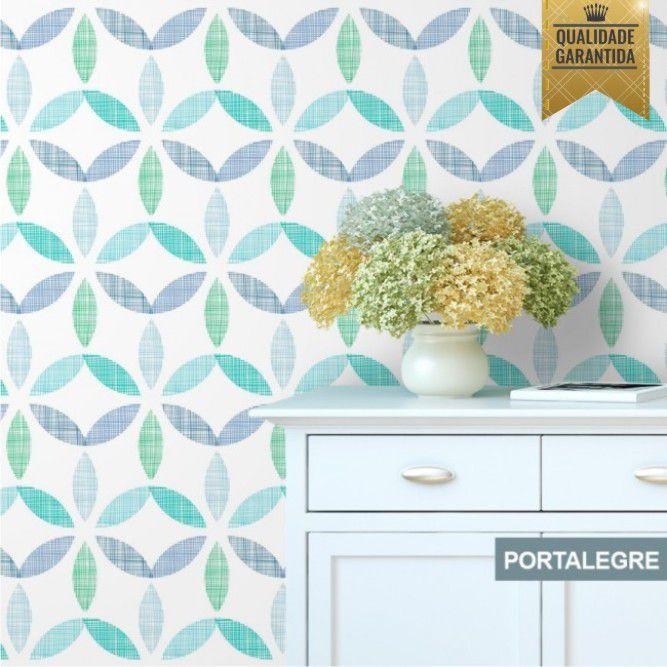 Papel de parede geometrico floral