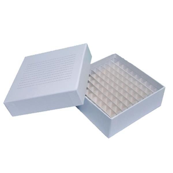 Caixa de armazenamento (Criobox) Para tubos criogênicos Tampa destacável Branco Papelão CRALPLAST