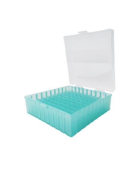 Caixa de armazenamento (Criobox) Para tubos criogênicos Tampa dobradiça com trava, alfunumérico Verde Polipropileno (PP) CRALPLAST