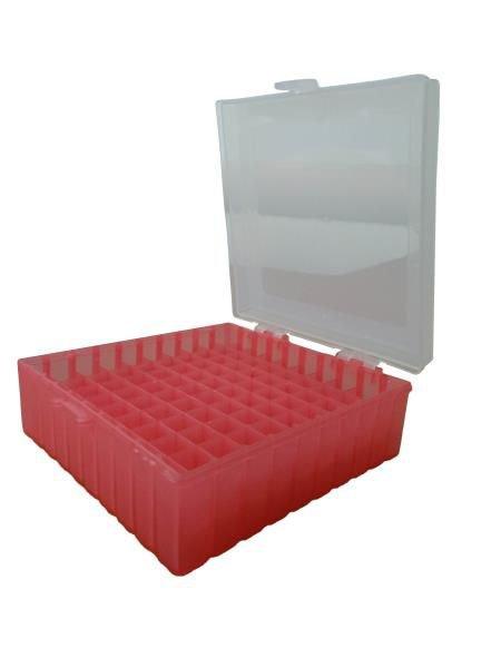 Caixa de armazenamento (Criobox) Para tubos criogênicos Tampa dobradiça com trava, alfunumérico Vermelho Polipropileno (PP) CRALPLAST