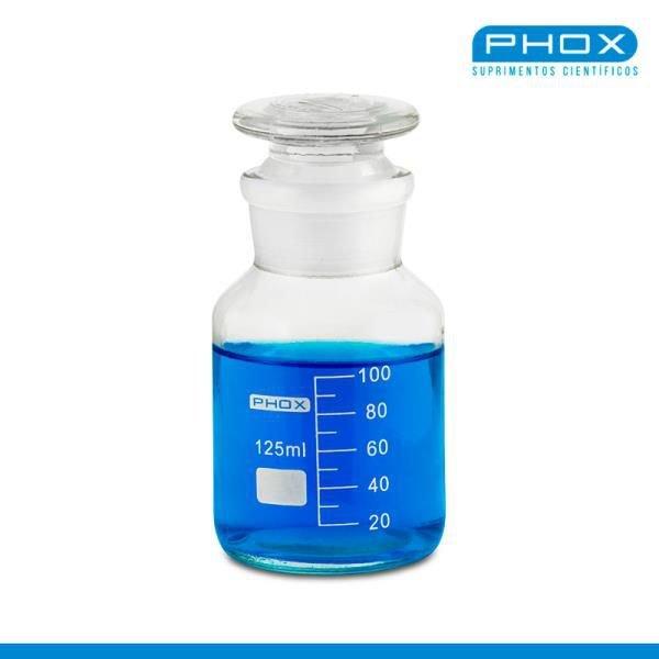 Frasco reagente Borossilicato Autoclavável Graduado em silk screen Boca larga e esmerilhada com rolha de vidro PHOX