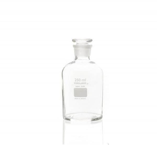 Frasco reagente Borossilicato Autoclavável Graduado em silk screen Boca estreita com rolha de vidro VIDROLABOR