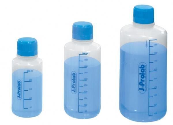 Frasco reagente Polietileno (PE) Não autoclavável Transparente Graduado em silk screen Selo de vedação em teflon J.PROLAB