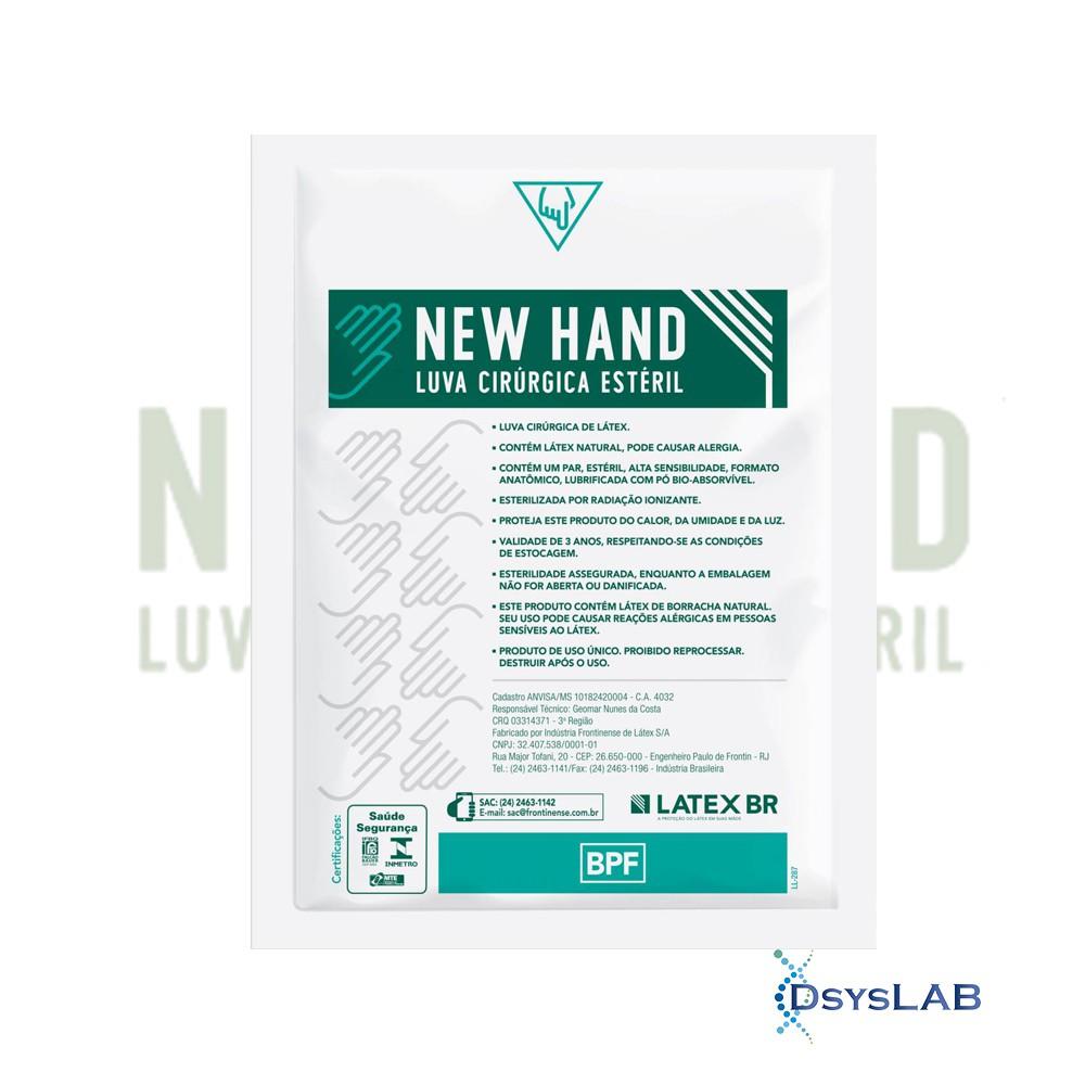 Luva látex estéril com talco branca NEW HAND