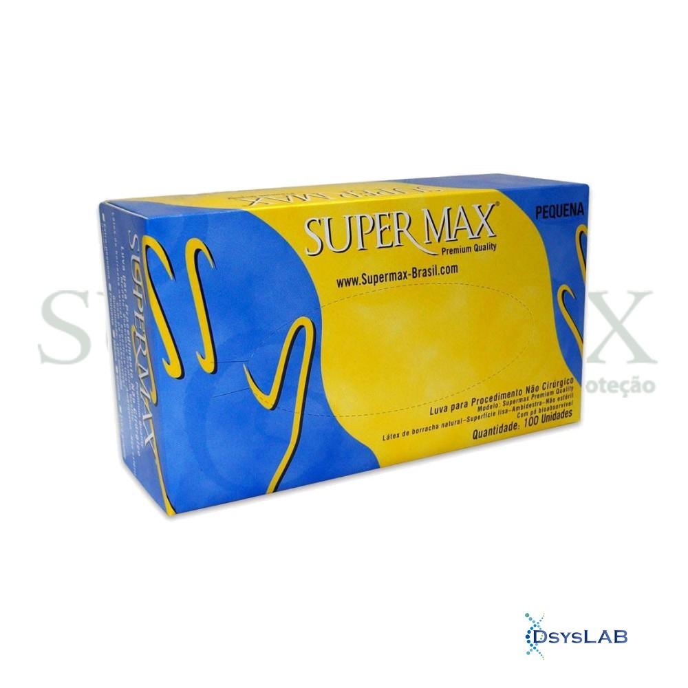 Luva látex não estéril com talco branca SUPERMAX