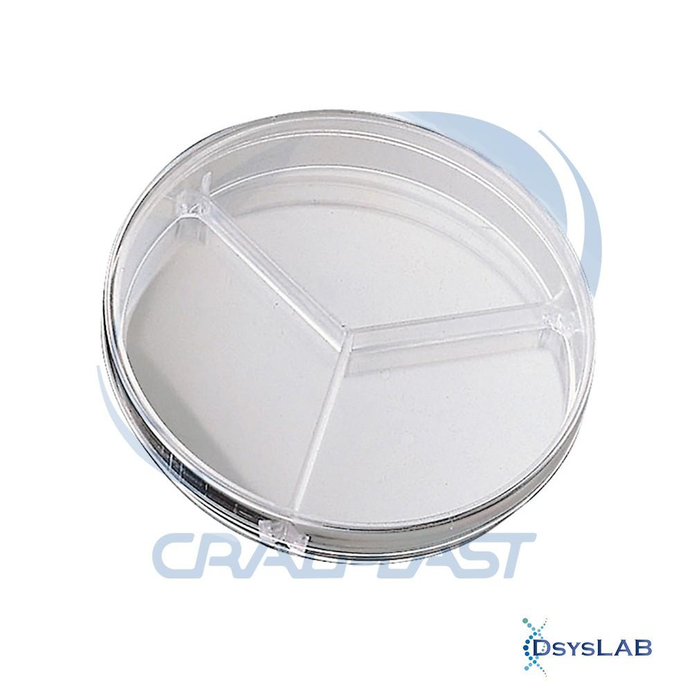 Placa de Petri Microbiologia Estéril Tripartida CRALPLAST