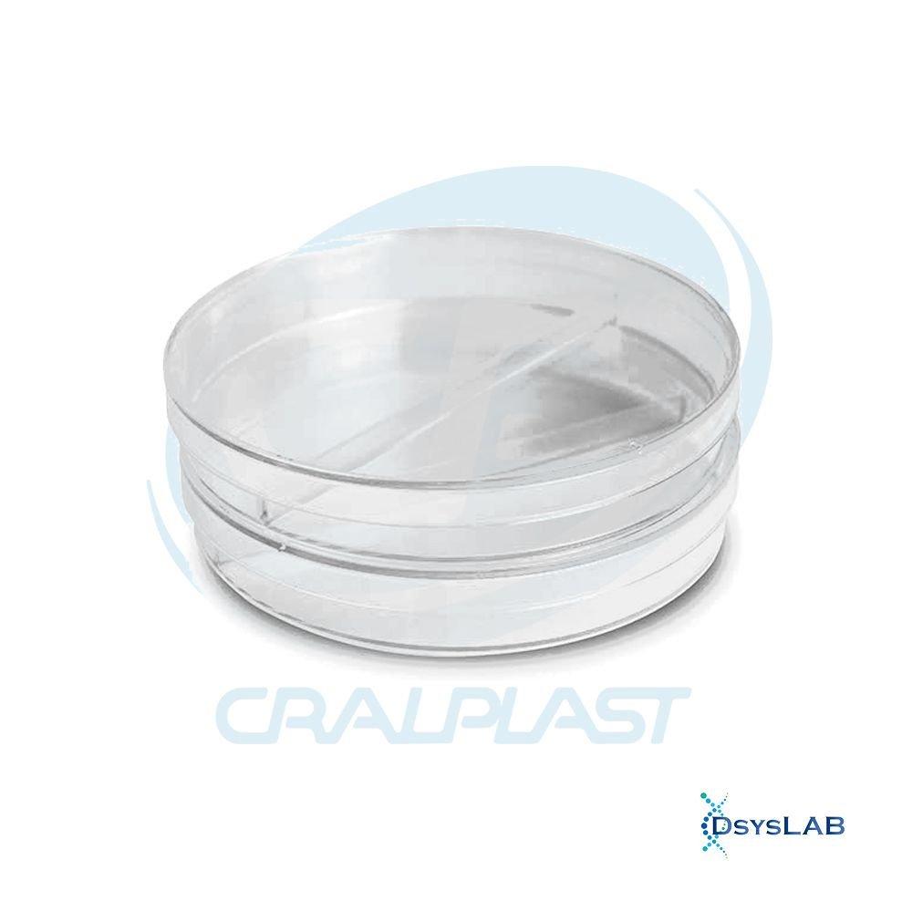 Placa de Petri Microbiologia Estéril Bipartida CRALPLAST