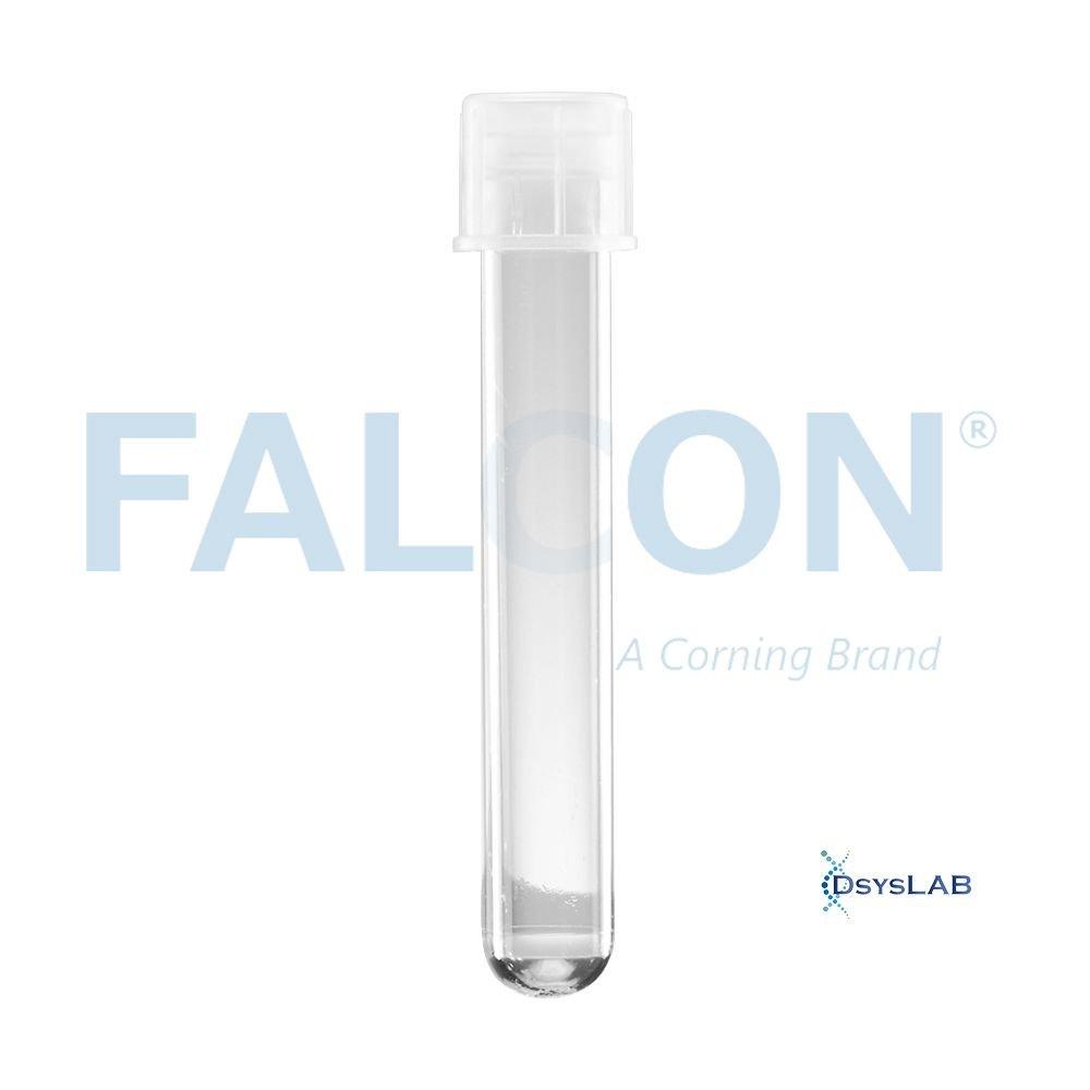 Tubo de centrifugação Fundo redondo  Estéril Livre de DNAse, RNAse e Pirogêncios PS Cristal Em pacote FALCON