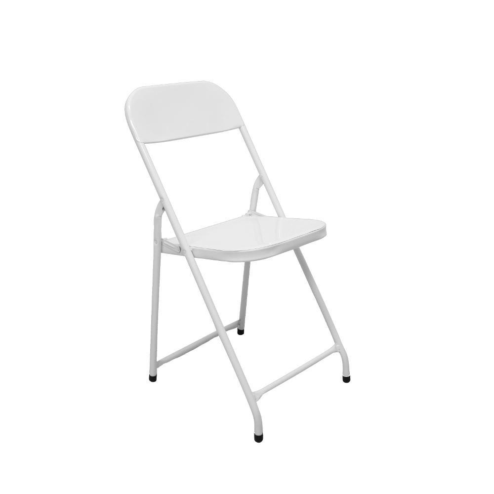 Cadeira Aço Dobrável América Branca Metalmix
