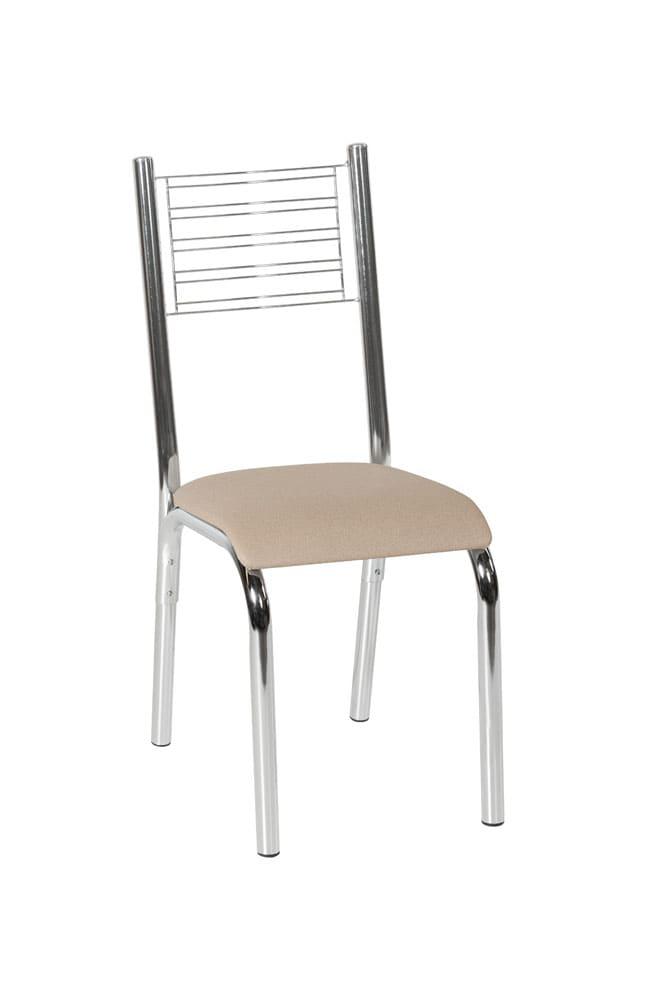 Cadeira Avulsa Camila 288DCRLB Linho Bege/Cromado Ciplafe