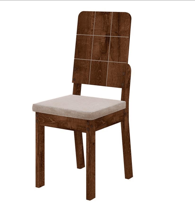 Cadeira Dama Rústico Malbec/ Suede Bege 123720906 2 Unidades Dj Móveis