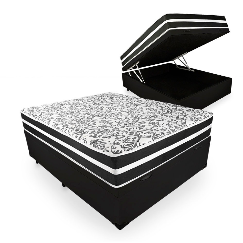 Cama Box Baú + Colchão de Molas Pocket Casal Branco/PReto Black Graphite Anjos