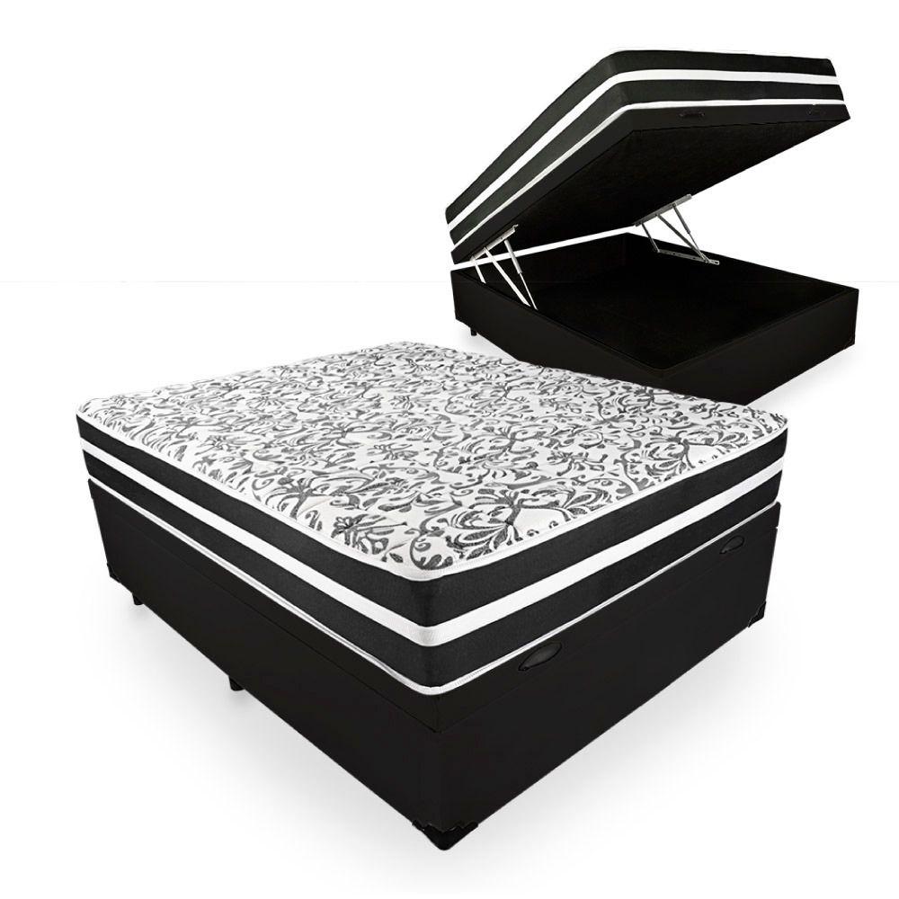 Cama Box Baú + Colchão de Molas Superlastic Casal Branco/Preto Black Graphite Anjos