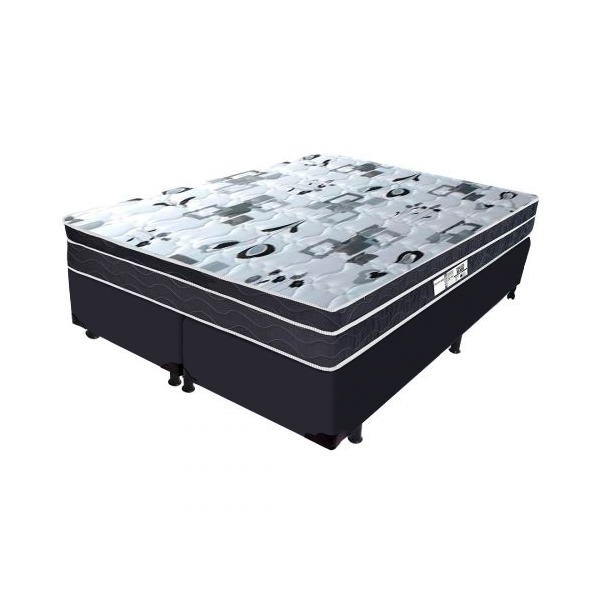 Cama Box + Colchão de Molas com Pillow Bonnel Queen Branco/Preto Palace Black Probel