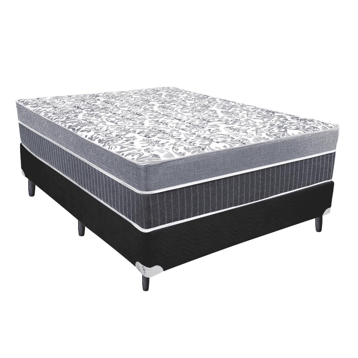 Cama Box + Colchão de Molas com Pillow Superlastic Casal Cinza All Star Anjos