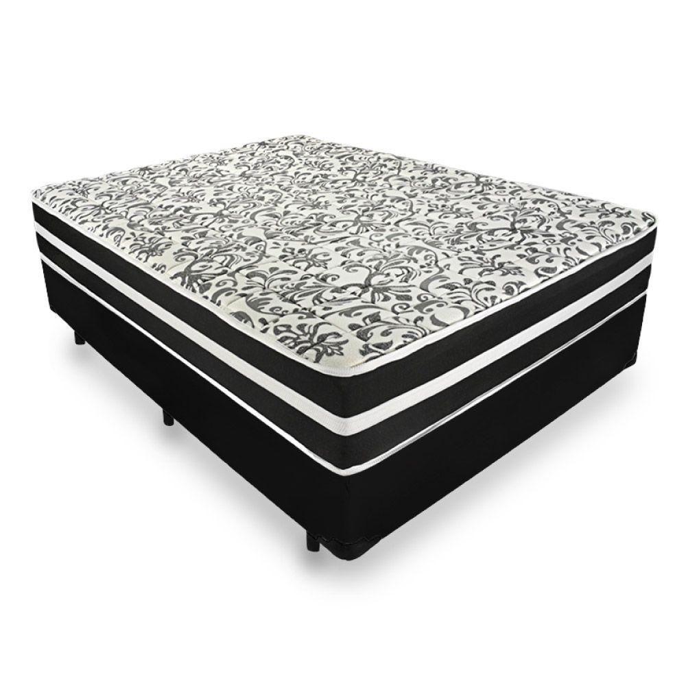 Cama Box + Colchão de Molas Pocket Casal Branco/Preto Black Graphite Anjos