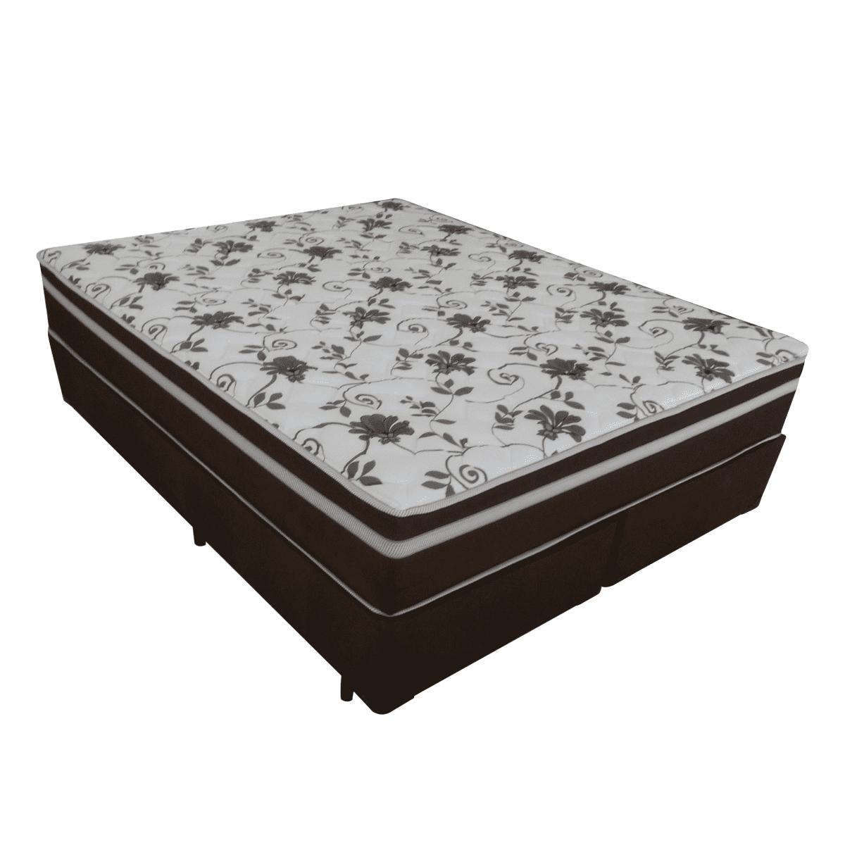 Cama Box + Colchão de Molas Pocket Queen Branco/Marrom New Vienna Anjos