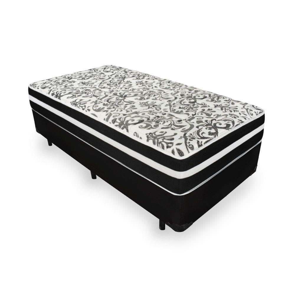 Cama Box + Colchão de Molas Pocket Solteiro Black Graphite Preto Anjos