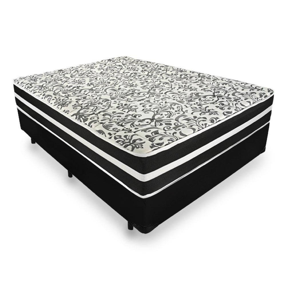 Cama Box + Colchão de Molas  Superlastic Casal  Branco/Preto Black Graphite Anjos