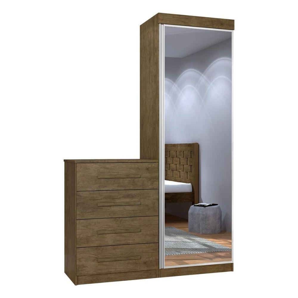 Cômoda 1 Portas 4 Gavetas com Espelho Thor Jequitibá 845 J&A