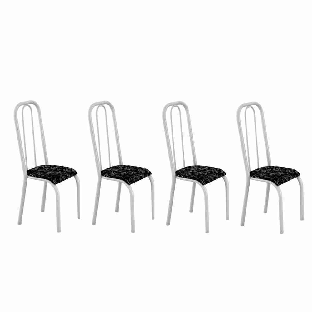 Conjunto com 4 Cadeiras Turquesa 0.70 Branco Floral/Preto Maxtubo