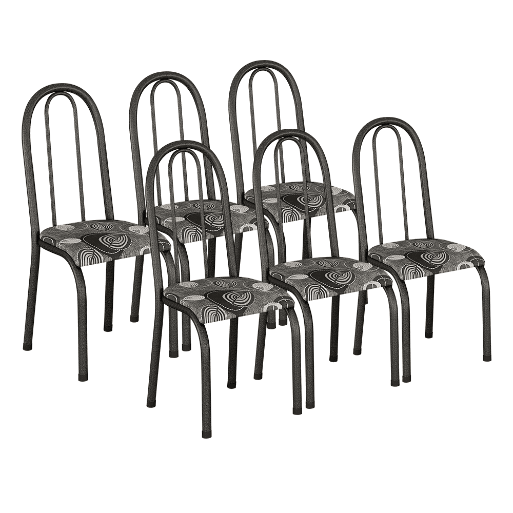 Conjunto de 6 Cadeiras 114/551 Prata Craqueado Paraopeba 15 Madmelos