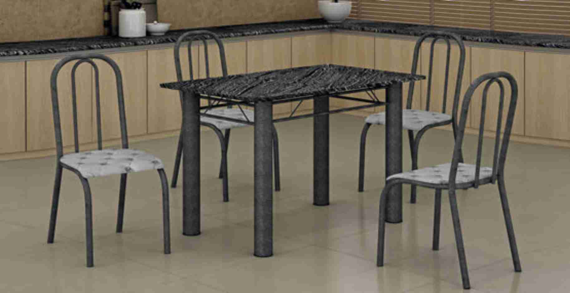 Conjunto de Cadeiras Topázio 010 Prata Martelado Captone Maxtubo