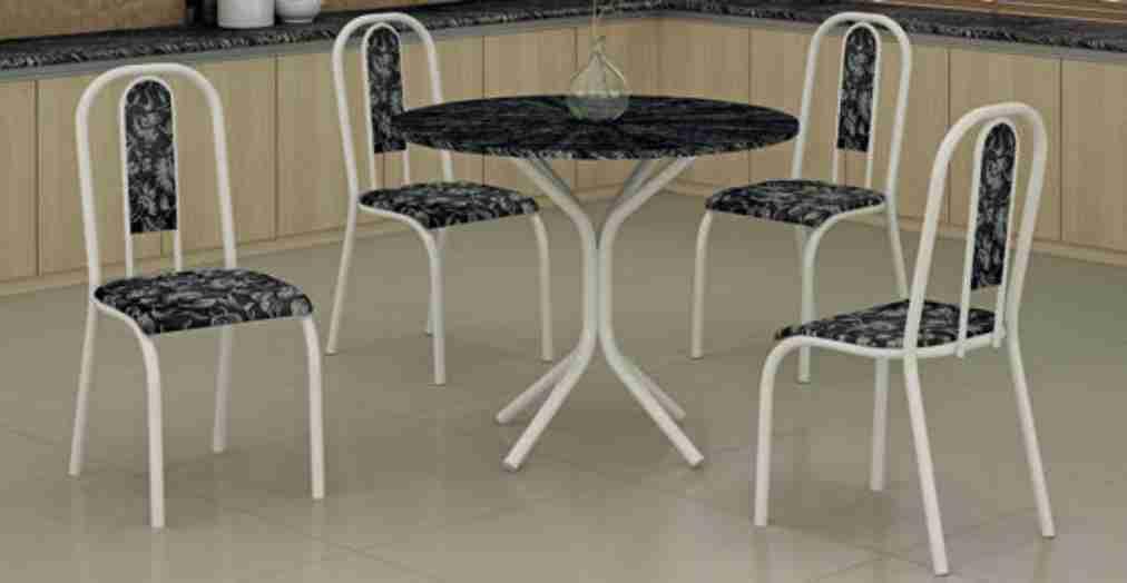 Conjunto de Mesa 0.80 Topázio com Ardósia Indiano com 4 Cadeiras Maxtubo