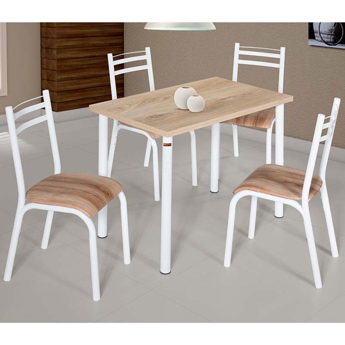 Conjunto de Mesa 1.10 Plaza CMCM com 4 Cadeiras Plaza Branco/Capuccino BRCN Ciplafe