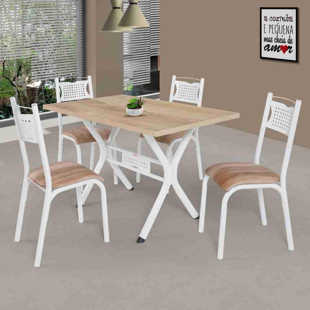 Conjunto de Mesa 1.20 Poeme CMCM 4 Cadeiras Poeme Branco/Cappucino Novo BRCN Ciplafe