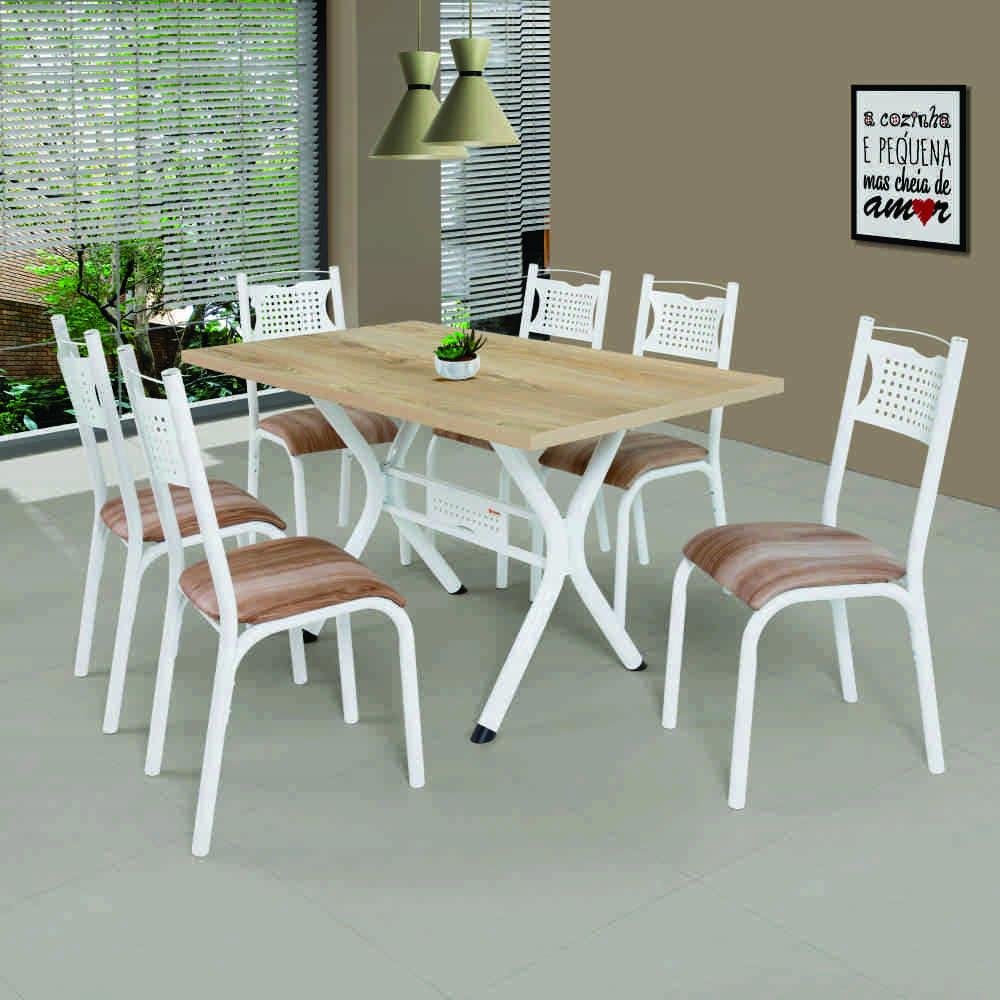 Conjunto de Mesa 1.36 Poeme CMCM 6 Cadeiras  Branco/Cappucino Novo BRNCN Ciplafe