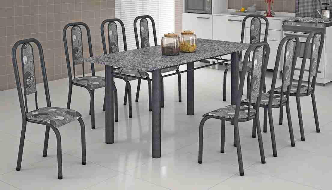 Conjunto de Mesa 1.80 Turquesa Prata Martelado Granito com 8 Cadeiras Maxtubo