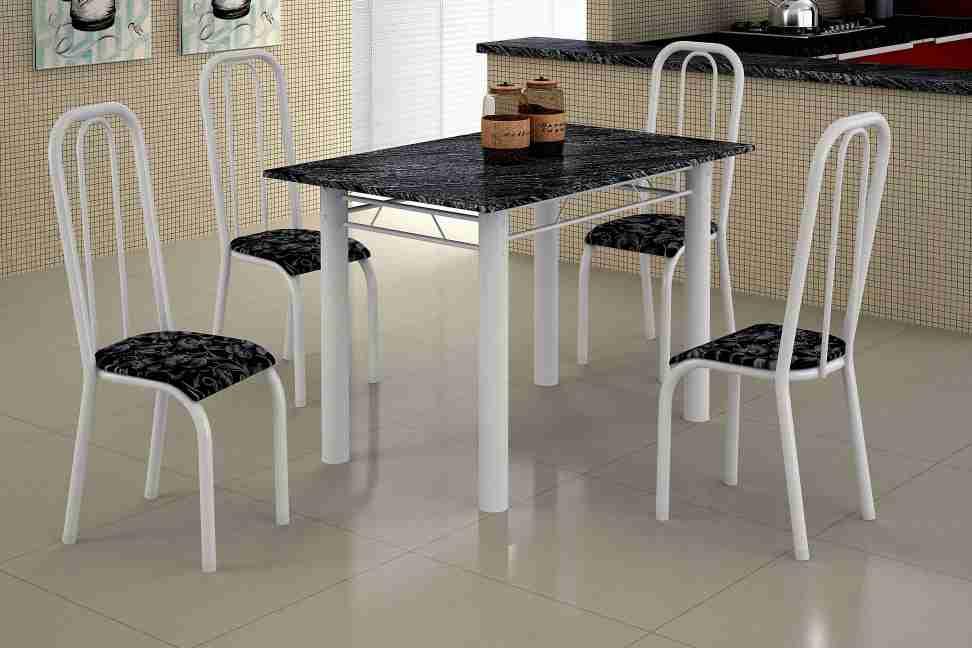 Conjunto de Mesa com 4 Cadeiras Turquesa 0.70 Branco Floral/Preto Maxtubo