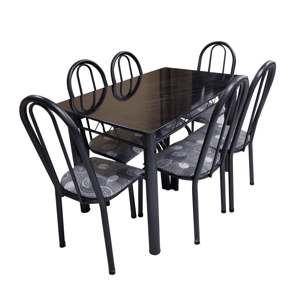 Conjunto de Mesa com Tampo Ardósia com 6 Cadeiras com Paraobeba Madmelos