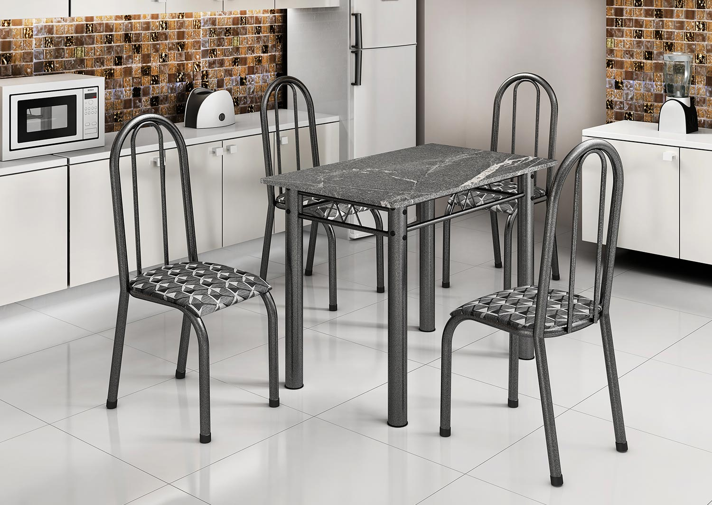Conjunto de Mesa com Tampo Granito Topázio com 4 Cadeiras 15 Madmelos