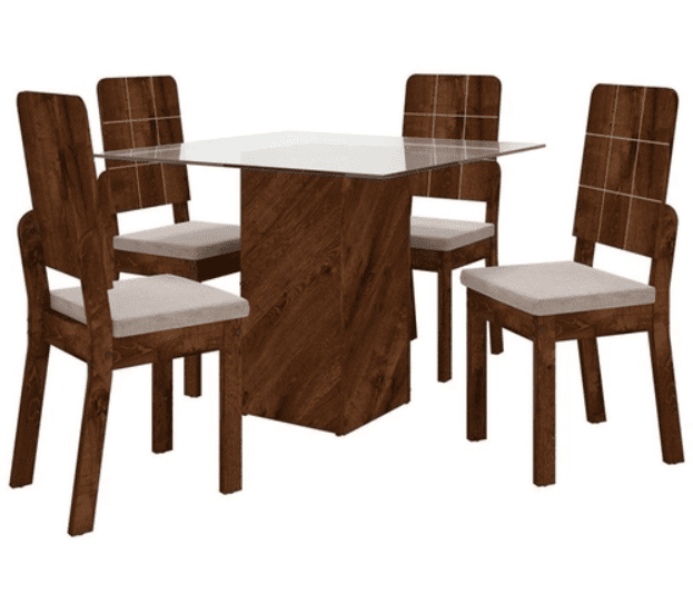Conjunto de Mesa Formosa  com Vidro Rústico Malbec com 4 Cadeiras Dama Malbec/Suede Bege  Dj Móveis