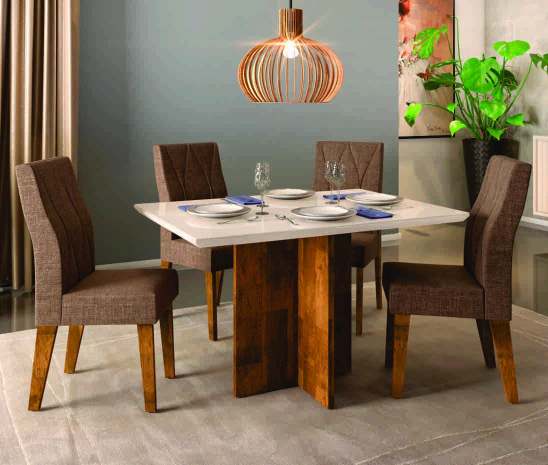 Conjunto de Mesa Hera Demolição/Off White com 4 Cadeiras Ágata Demolição/Linho Dj Móveis