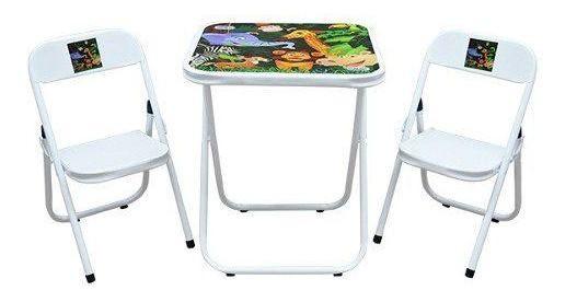 Conjunto de Mesa Itália 0.46  com 2 Cadeiras Branca/Floresta 008 INF0003 Utilaço