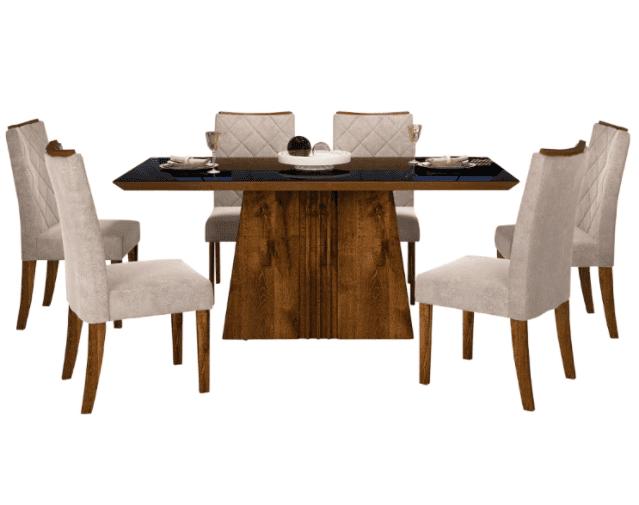 Conjunto de Mesa  Itália Tampo Madeira Rústico Malbec/Preto com 6 Cadeiras Golden Rústico Malbec/Suede Bege  Dj Móveis