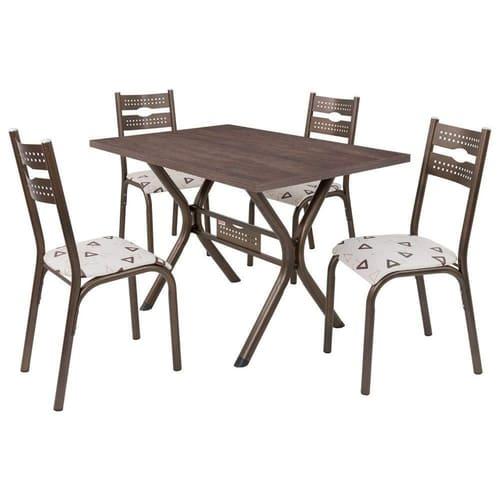 Conjunto de Mesa 1.20 Luna ADAD 4 Cadeiras Luna Bronze/Bege Geométrico BZBG Ciplafe
