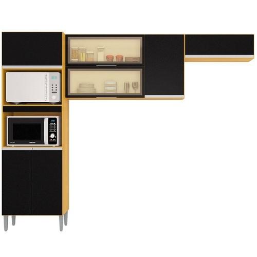 Cozinha Aline Completa 3 Peças Damasco/Preto A705.47 Poquema