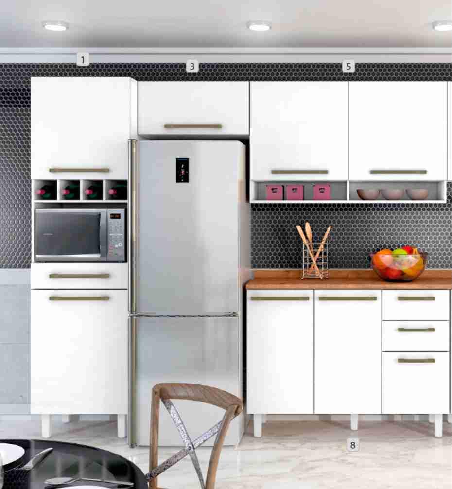 Cozinha Completa Color 4 Peças Branco Zanzini