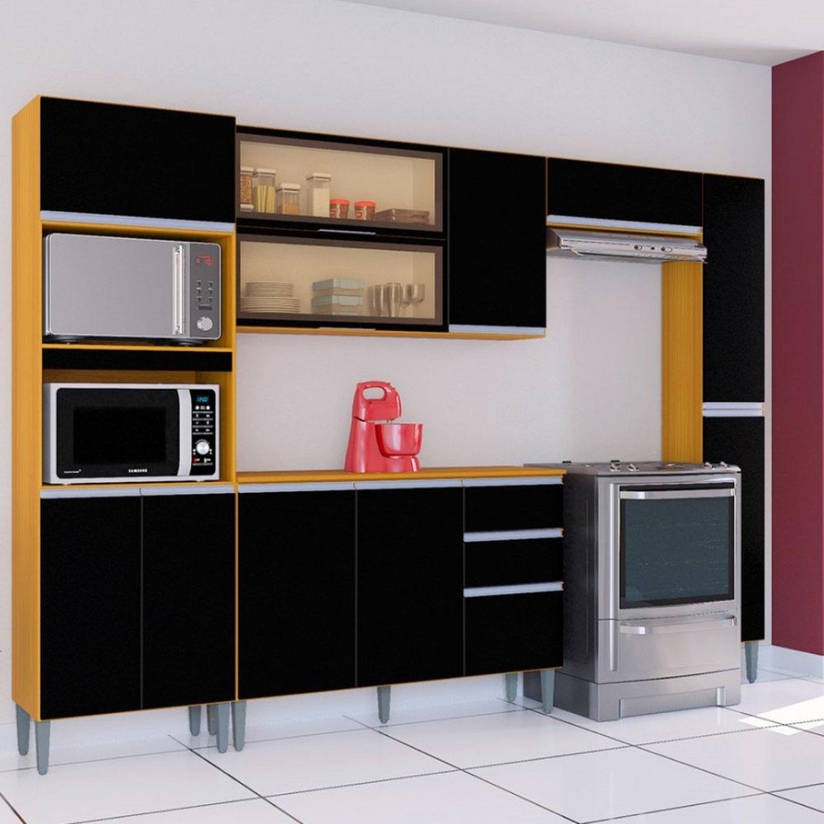 Cozinha Completa com 5 Peças Aline Preto/Damasco Poquema